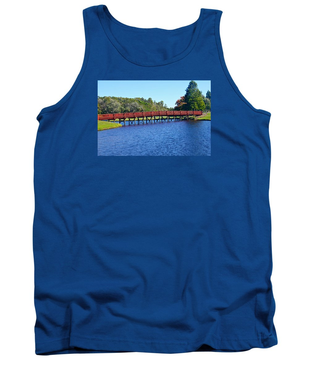 Bridge Tank Top featuring the photograph Red Bridge by Denise Mazzocco