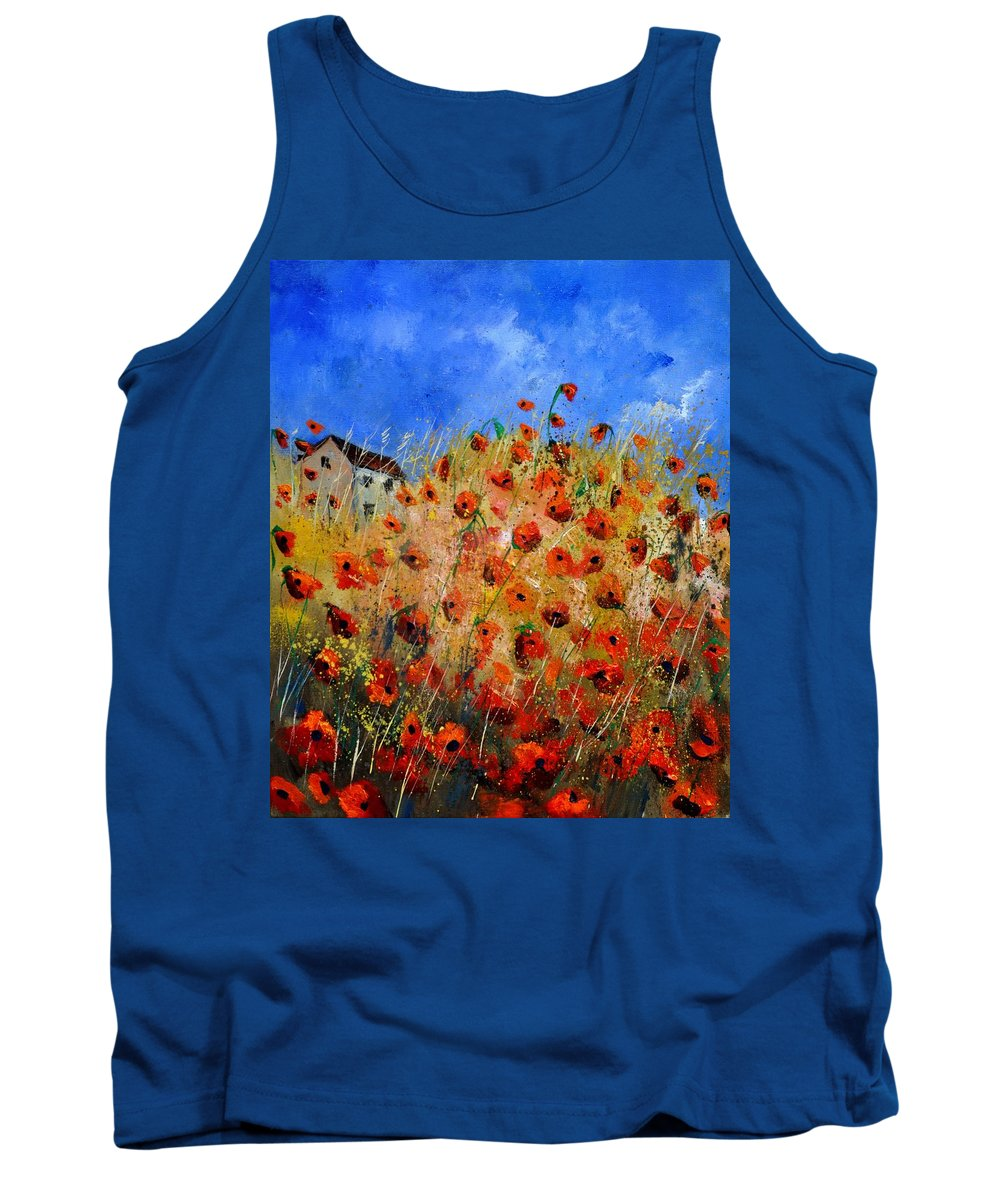 Landscape Tank Top featuring the painting Red Poppies 562111 by Pol Ledent