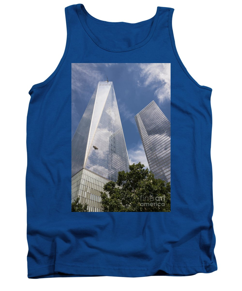 World Trade Center New York City Cityscape Cityscapes Building Buildings Architecture Cities Structure Structures Skyscraper Skyscrapers Line Lines Window Windows Reflection Reflections Cloud Clouds Tank Top featuring the photograph Reflective Skyscrapers by Bob Phillips