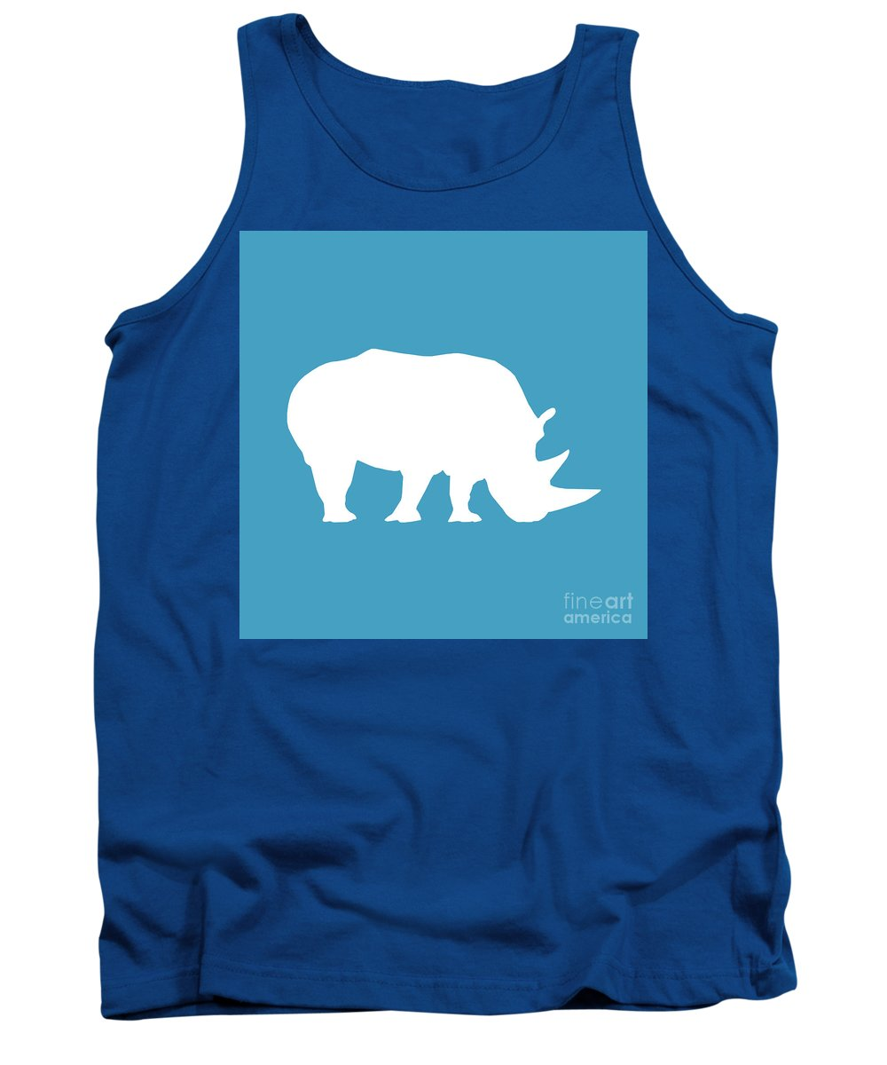 Graphic Art Tank Top featuring the digital art Rhino In White And Turquoise Blue by Jackie Farnsworth