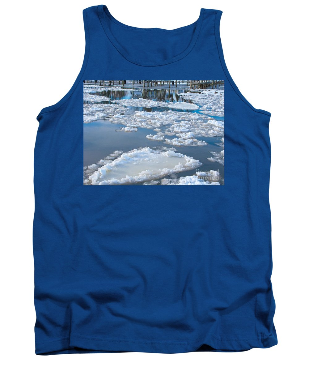 Ice Tank Top featuring the photograph River Ice by Ann Horn