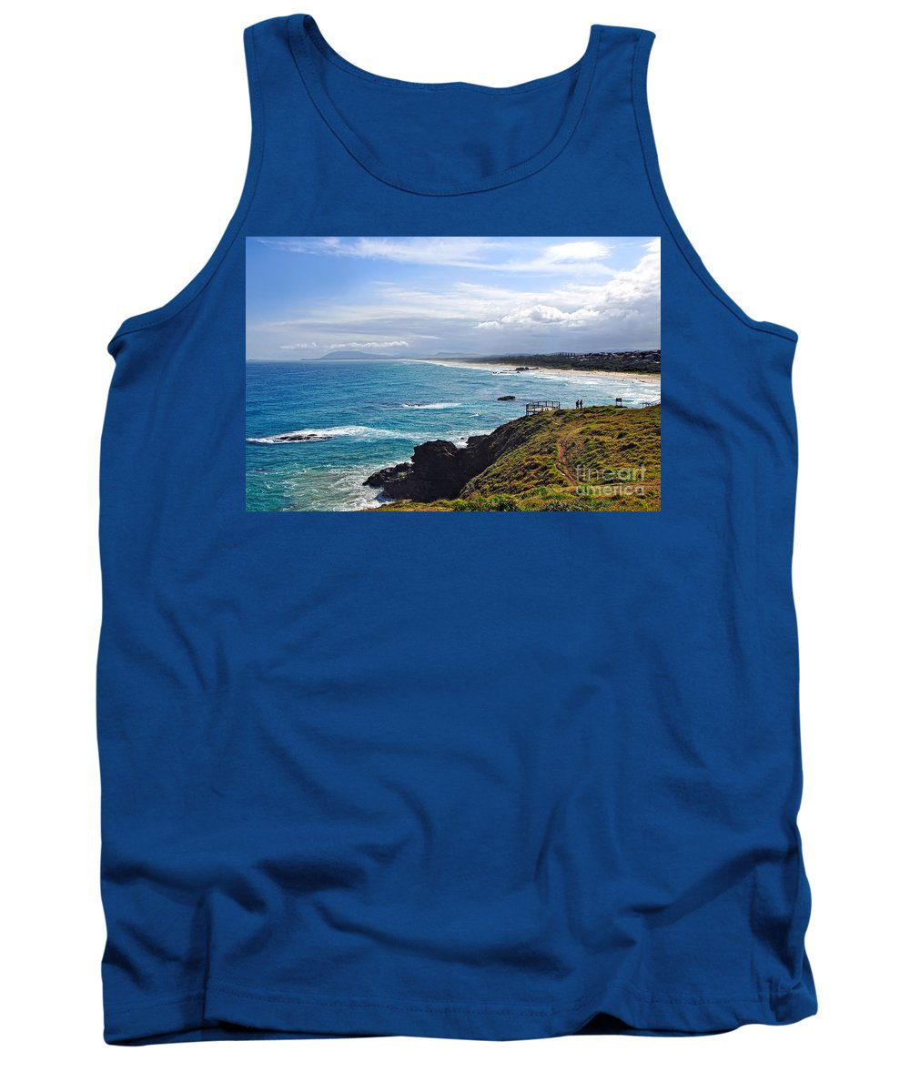 Photography Tank Top featuring the photograph Rocks Ocean Surf And Sun by Kaye Menner