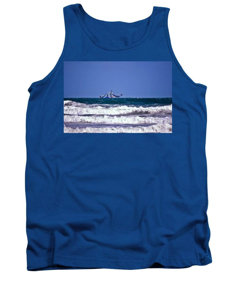 Boat Tank Top featuring the photograph Rough Seas Shrimping by DigiArt Diaries by Vicky B Fuller
