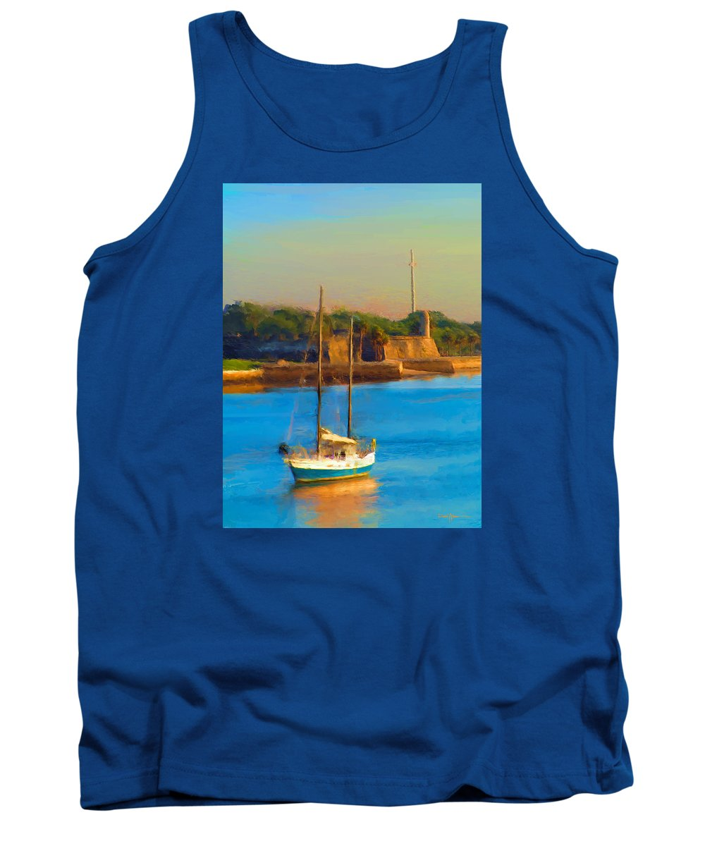 Sailboat Tank Top featuring the painting Da147 Sailboat By Daniel Adams by Daniel Adams