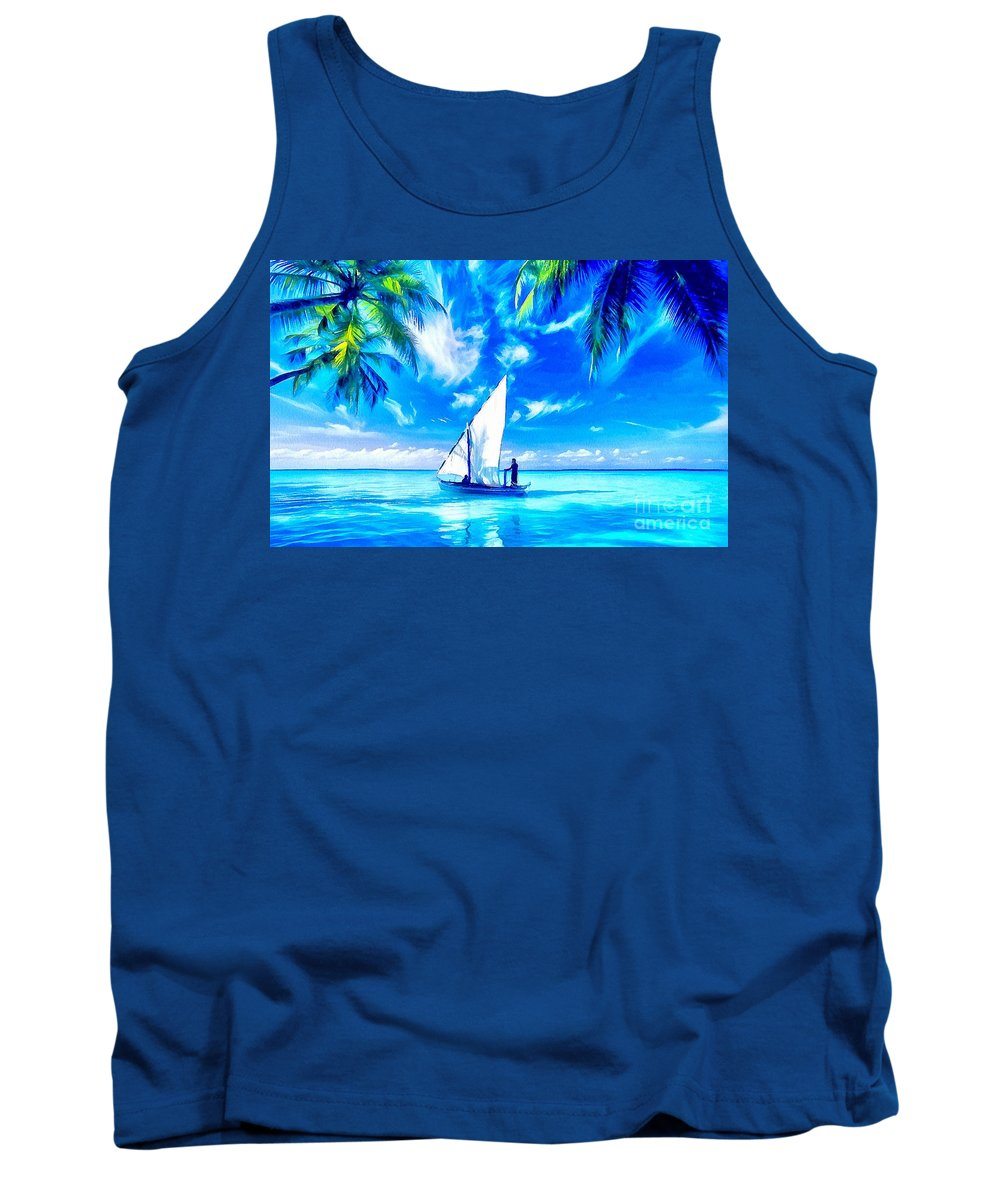 Sailing Tank Top featuring the painting Sailing by Catherine Lott