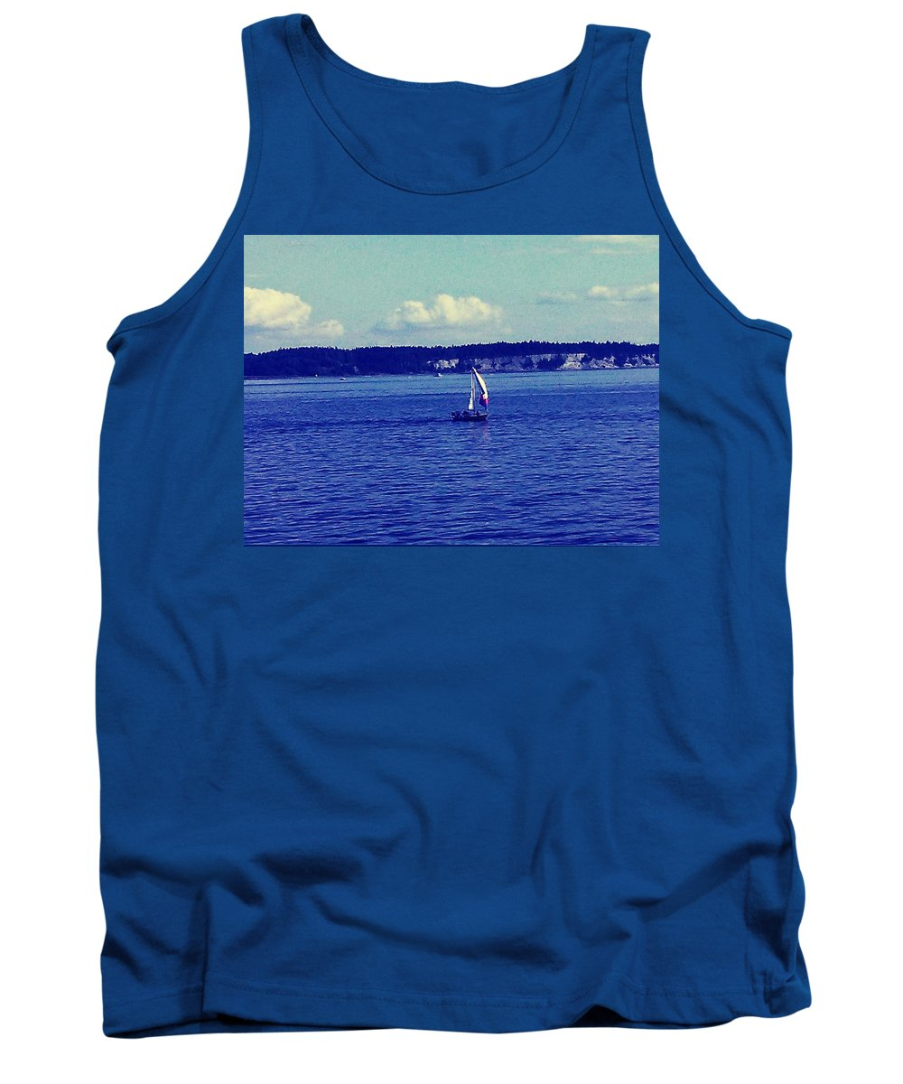 Seattle Tank Top featuring the photograph Sailing Seattle by Barbara Christensen