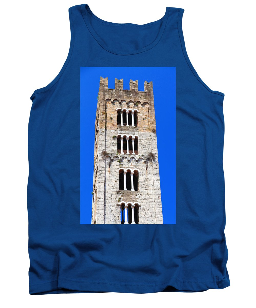 Lucca Tank Top featuring the photograph San Frediano Campanile by Valentino Visentini