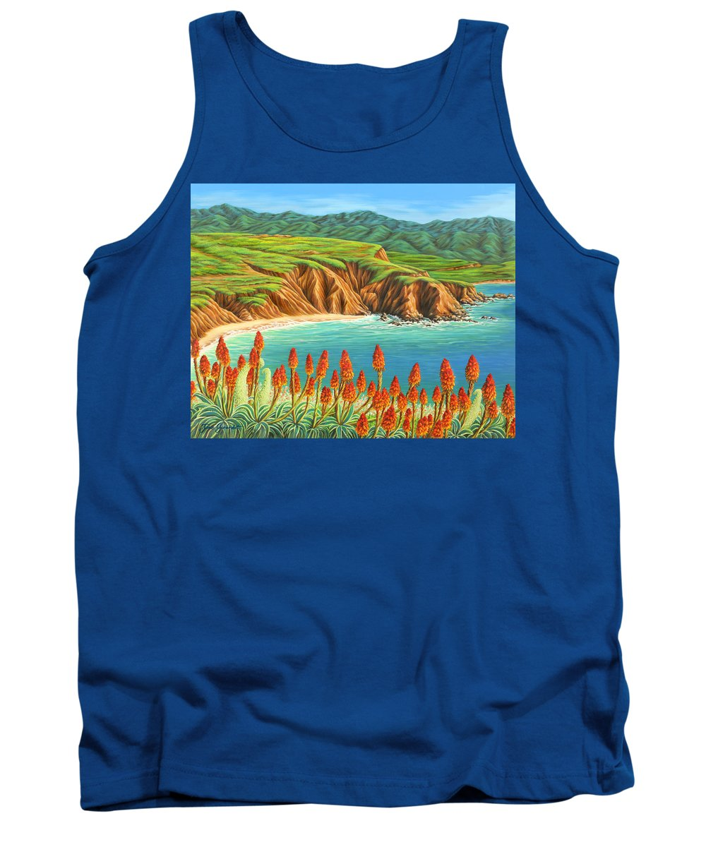 Ocean Tank Top featuring the painting San Mateo Springtime by Jane Girardot