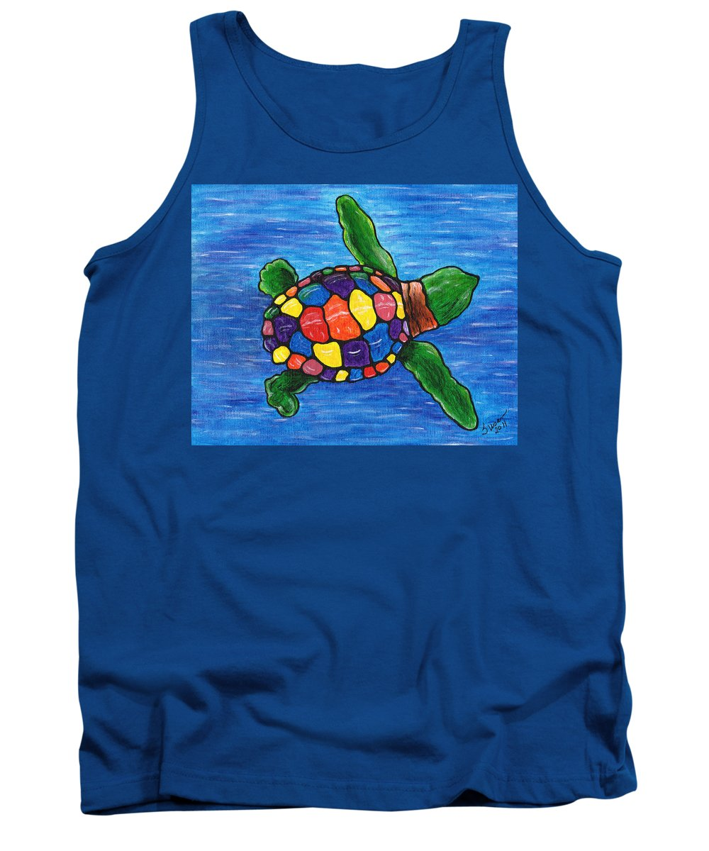 Sea Turtle Tank Top featuring the painting Sea Turtle by Susan Cliett
