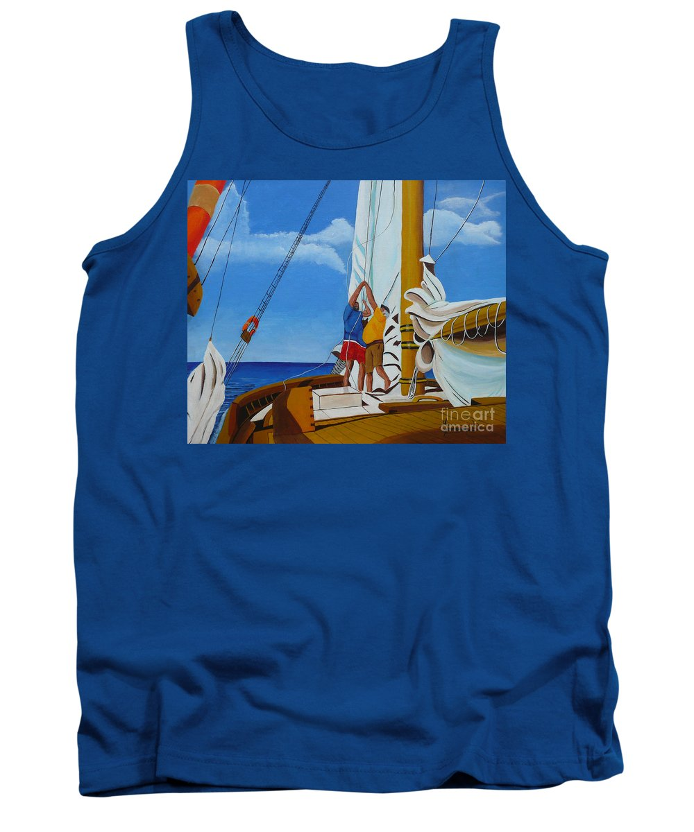 Sail Tank Top featuring the painting Setting Sail by Anthony Dunphy