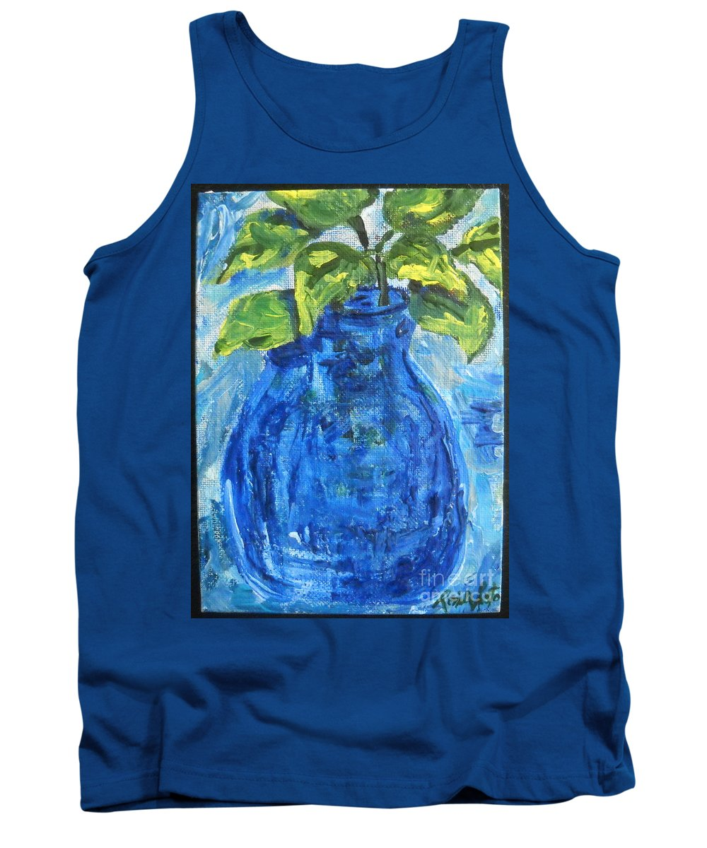 Botanical Tank Top featuring the painting Simple Greens by Reina Resto