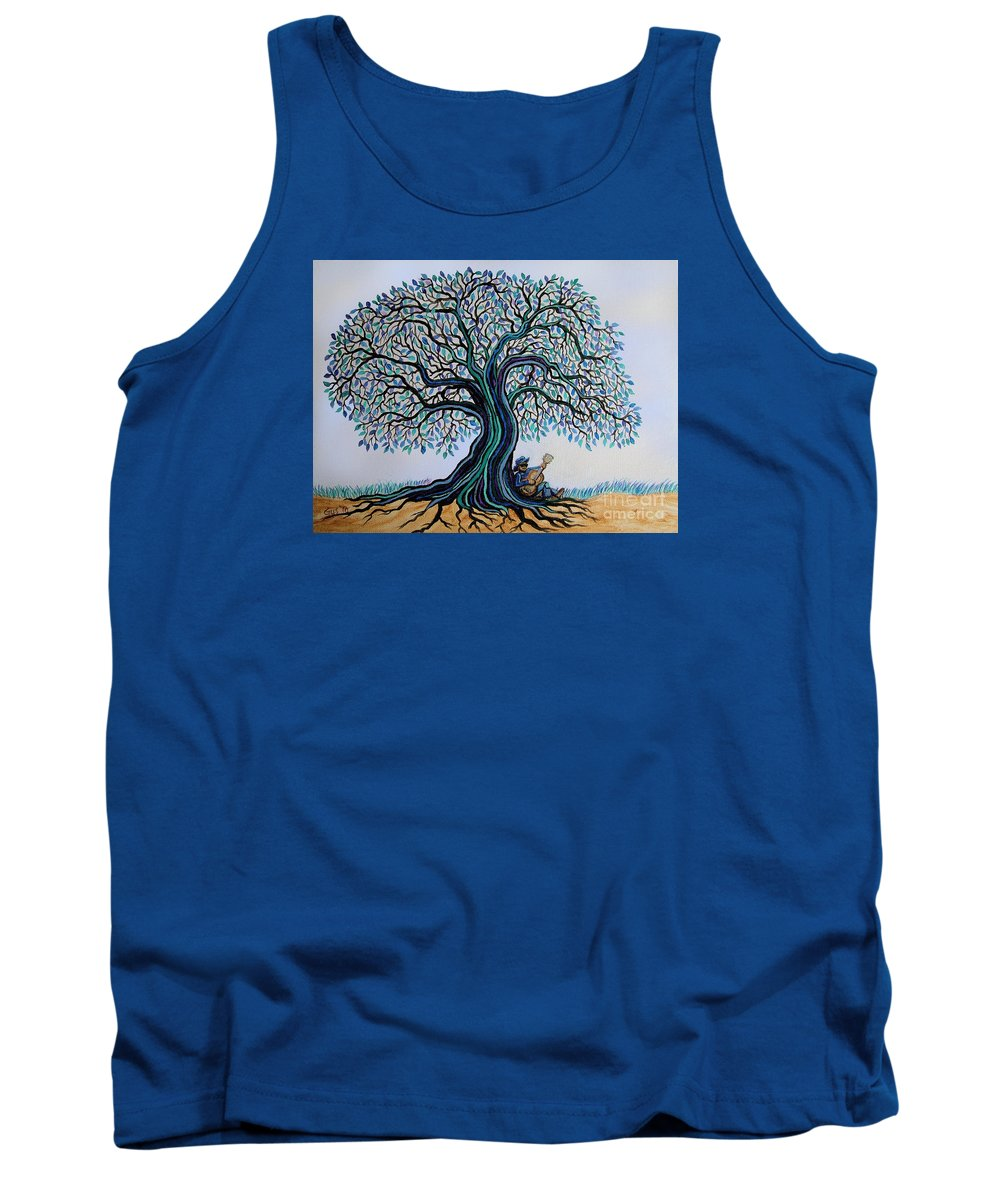 Blues Tank Top featuring the painting Singing Under The Blues Tree by Nick Gustafson