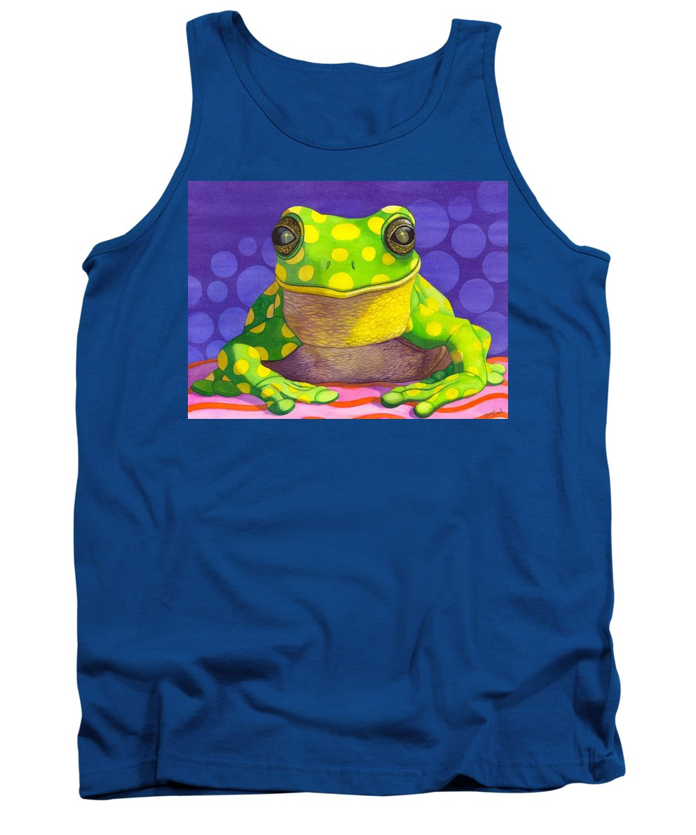 Frog Tank Top featuring the painting Spotted Frog by Catherine G McElroy