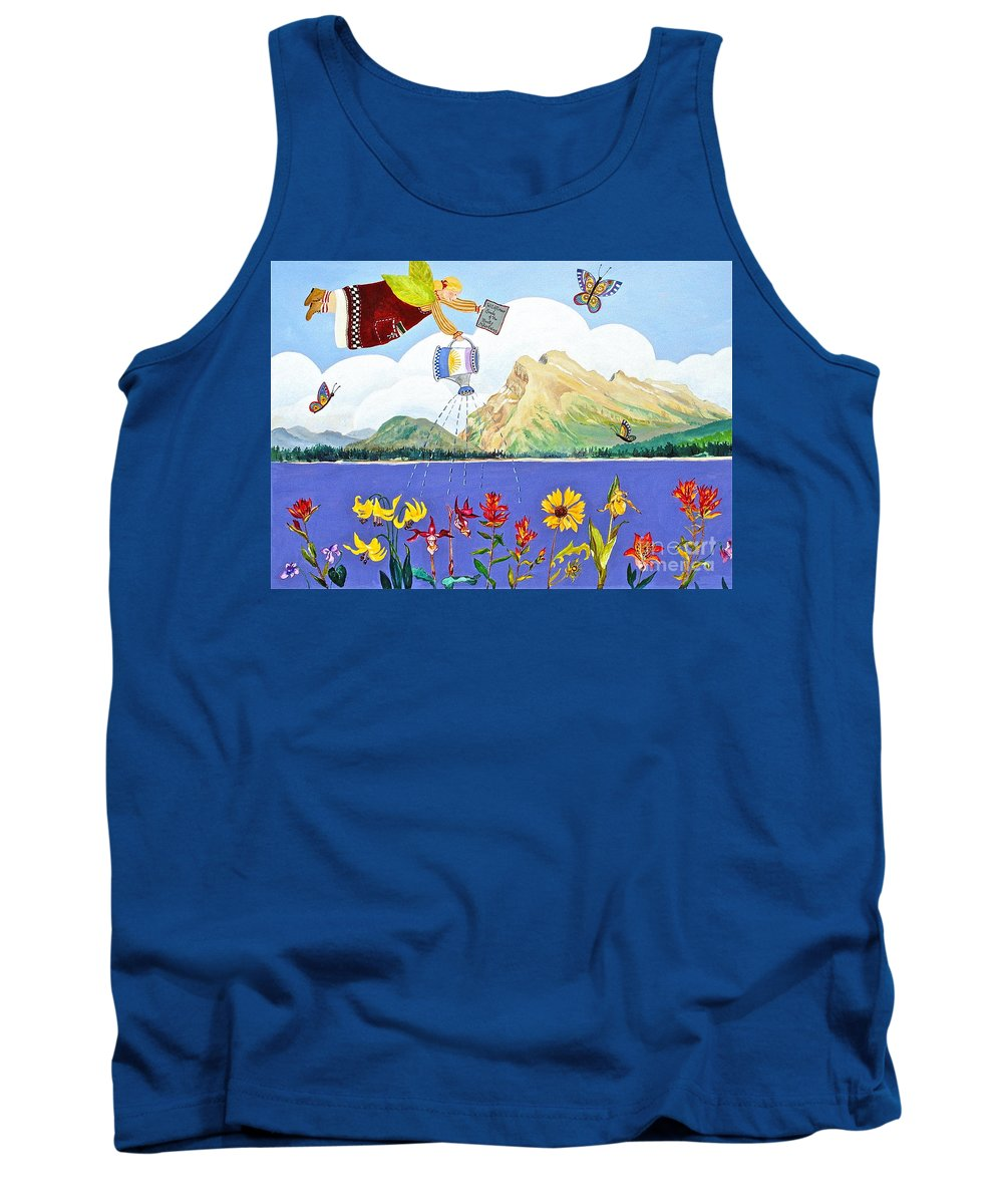 Mt Rundle Paintings Tank Top featuring the painting Springtime In The Rockies by Virginia Ann Hemingson