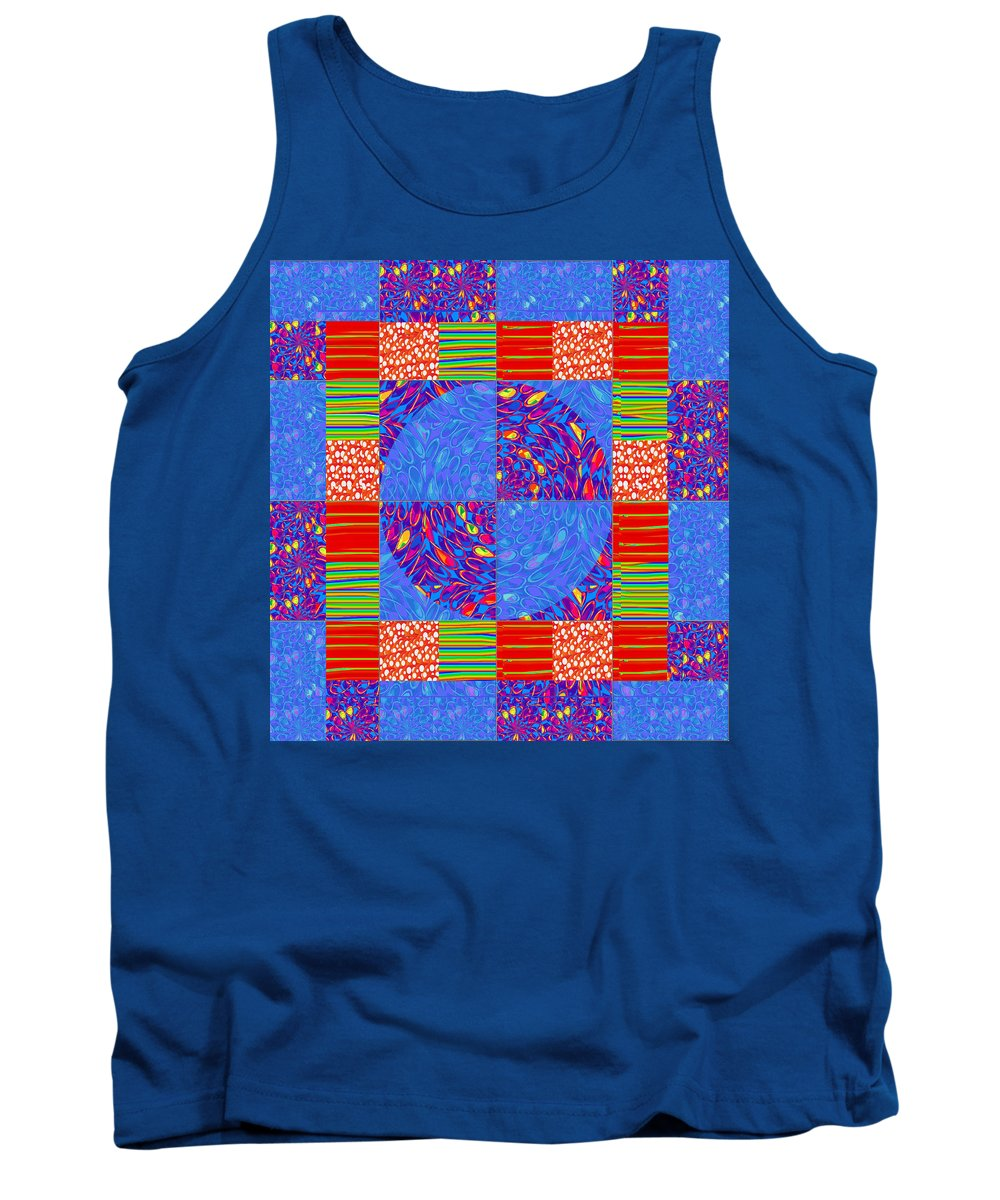 Squares Tank Top featuring the photograph Squares Lines Dots Symbol Infinity Red Purple Blue Green Colorful Waves Unique Background Designs A by Navin Joshi