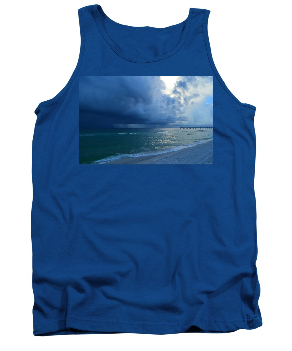 Storms Tank Top featuring the photograph Storms Brewing Off Navarre Beach At Dawn by Jeff at JSJ Photography
