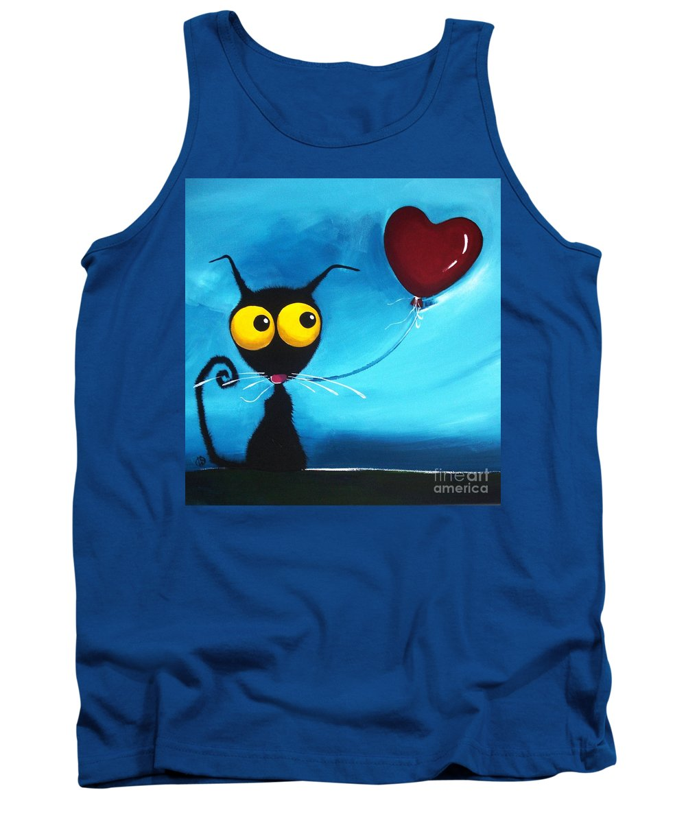 Stressie Tank Top featuring the painting Stressie Cat And Her Love Balloon by Lucia Stewart