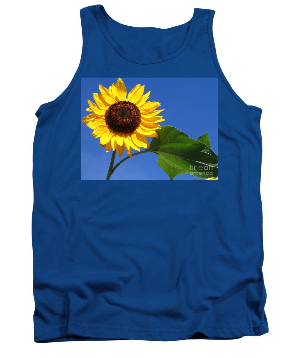 Sunflower Tank Top featuring the photograph Sunflower Alone by Line Gagne