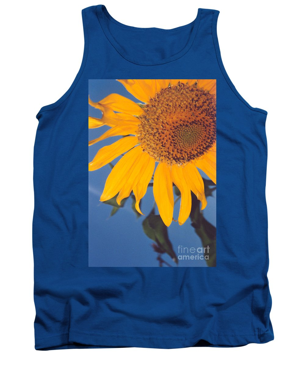 Flower Tank Top featuring the photograph Sunflower In The Corner by Heather Kirk
