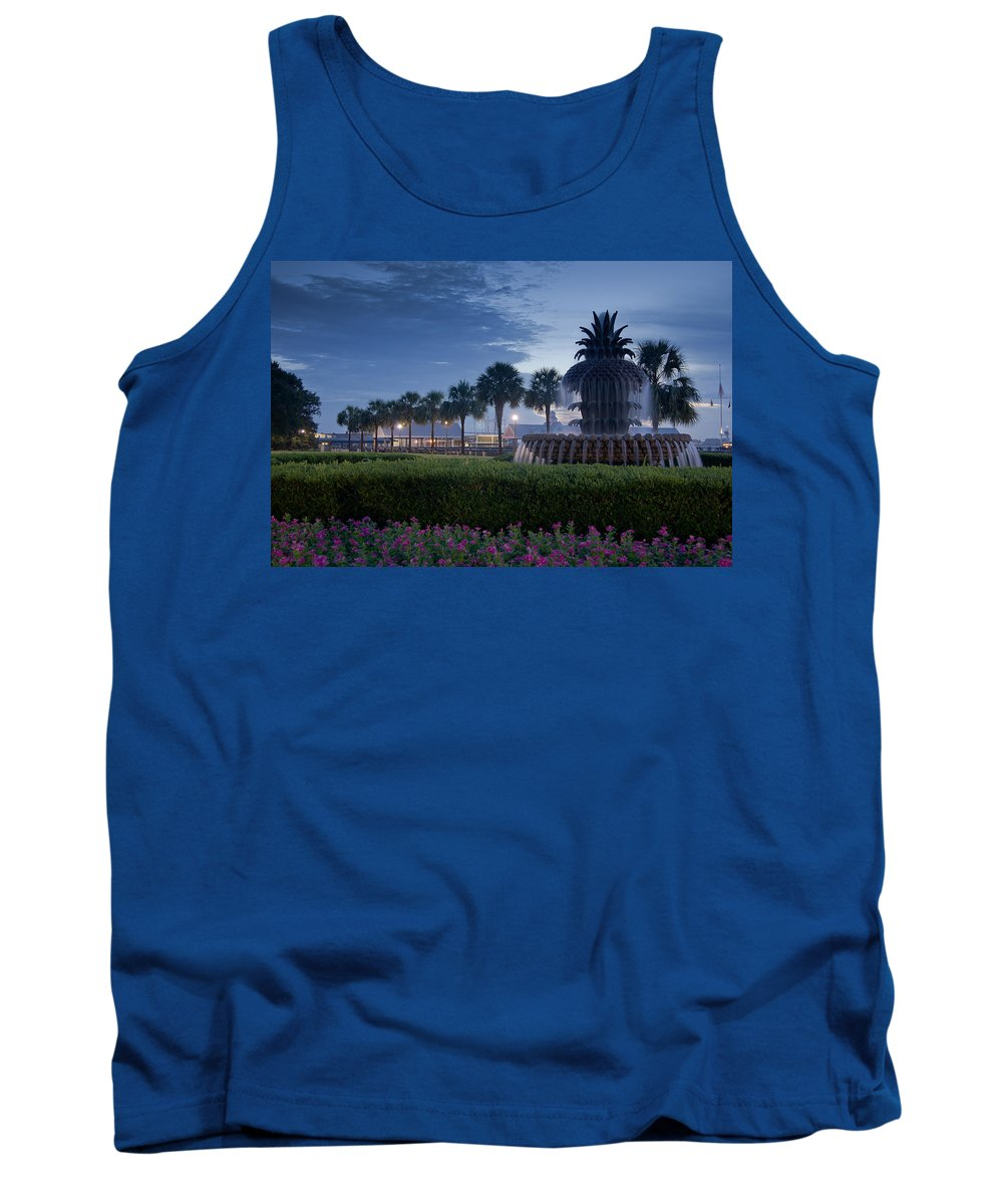 Charleston Tank Top featuring the photograph Sunrise Pineapple Fountain by E Karl Braun