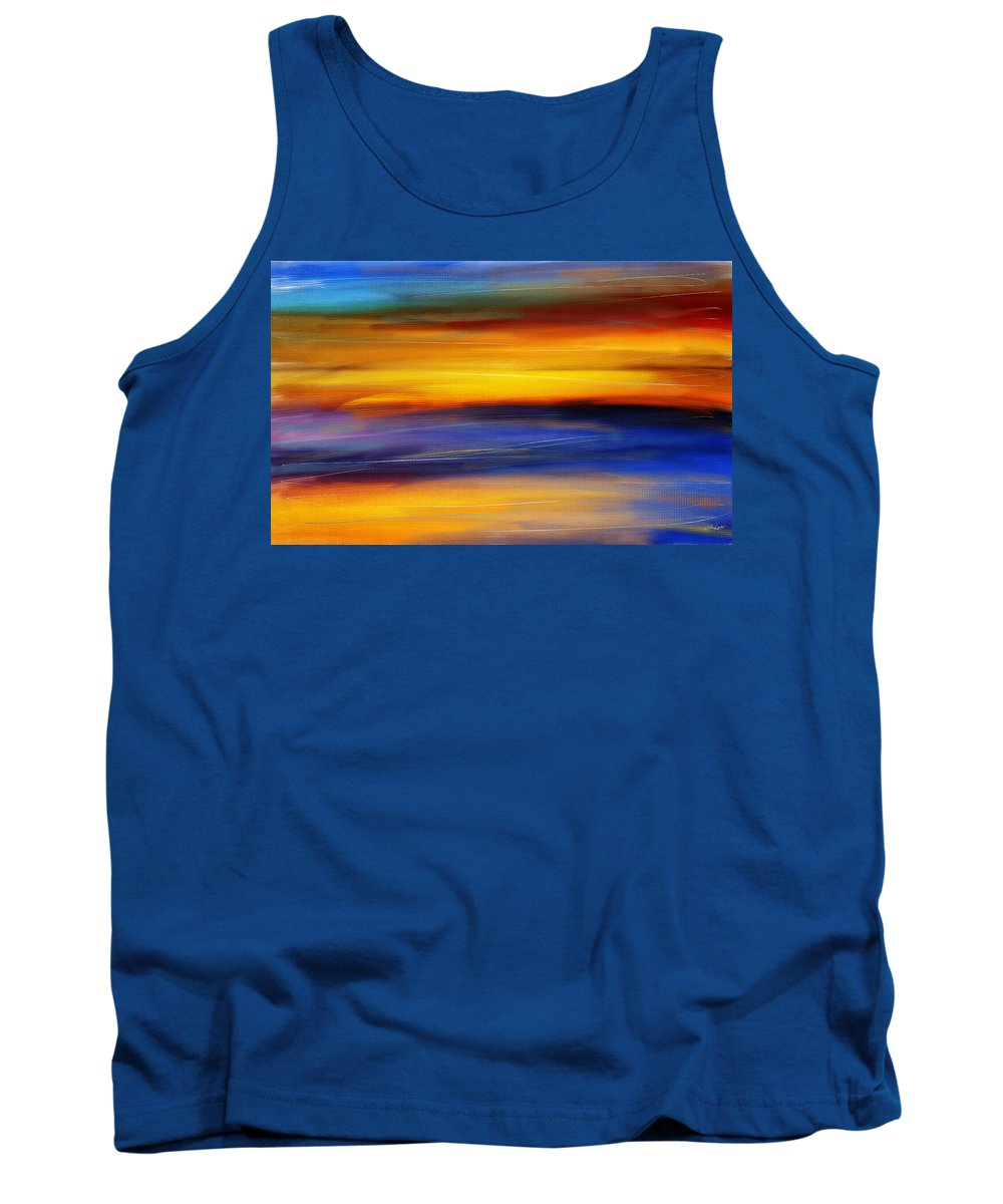 Seascapes Abstract Tank Top featuring the photograph Sunset Of Light by Lourry Legarde
