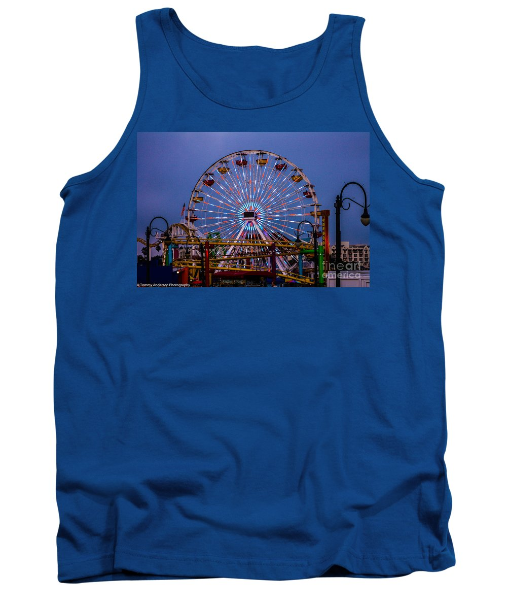 Santa Monica Tank Top featuring the photograph Sunset On The Santa Monica Ferris Wheel by Tommy Anderson