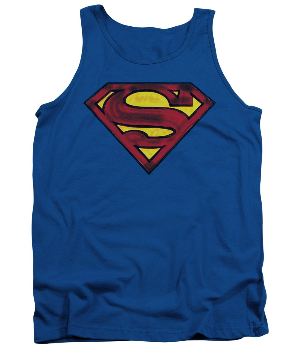 Superman Tank Top featuring the digital art Superman - Charcoal Shield by Brand A