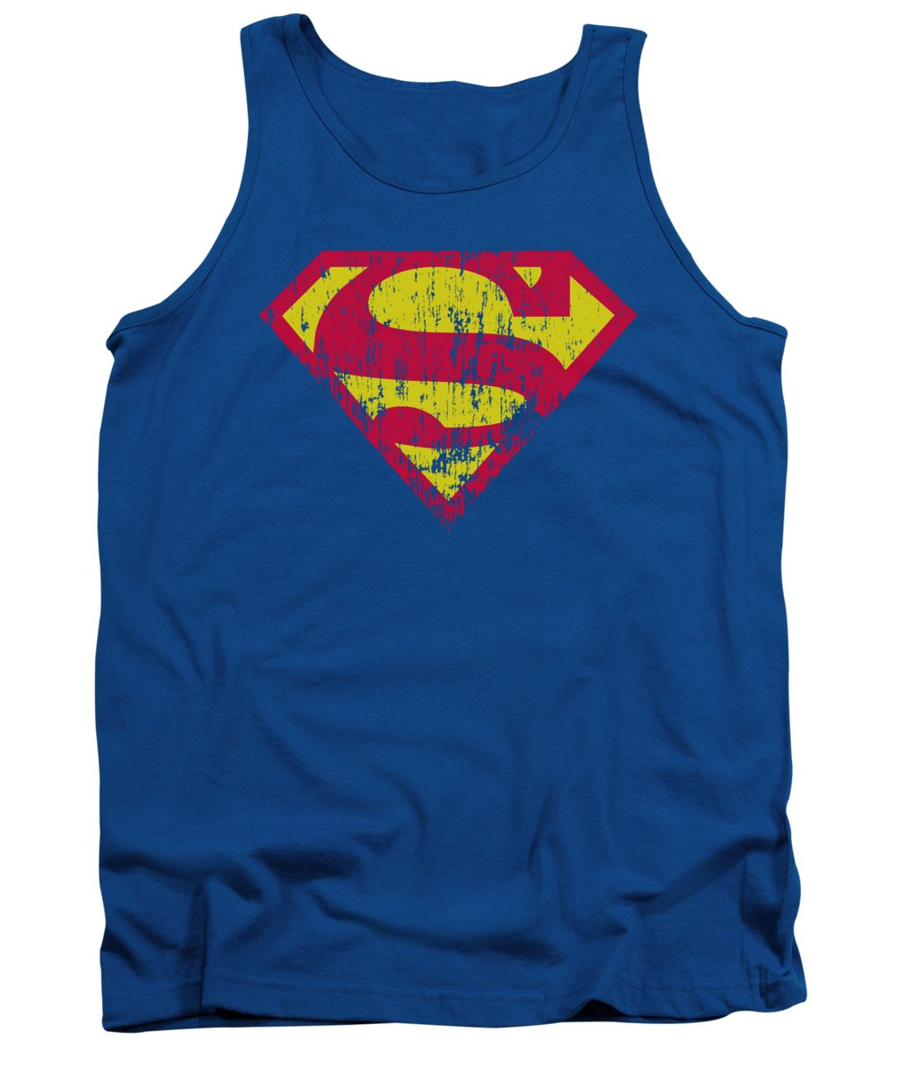 Superman Tank Top featuring the digital art Superman - Classic Logo Distressed by Brand A