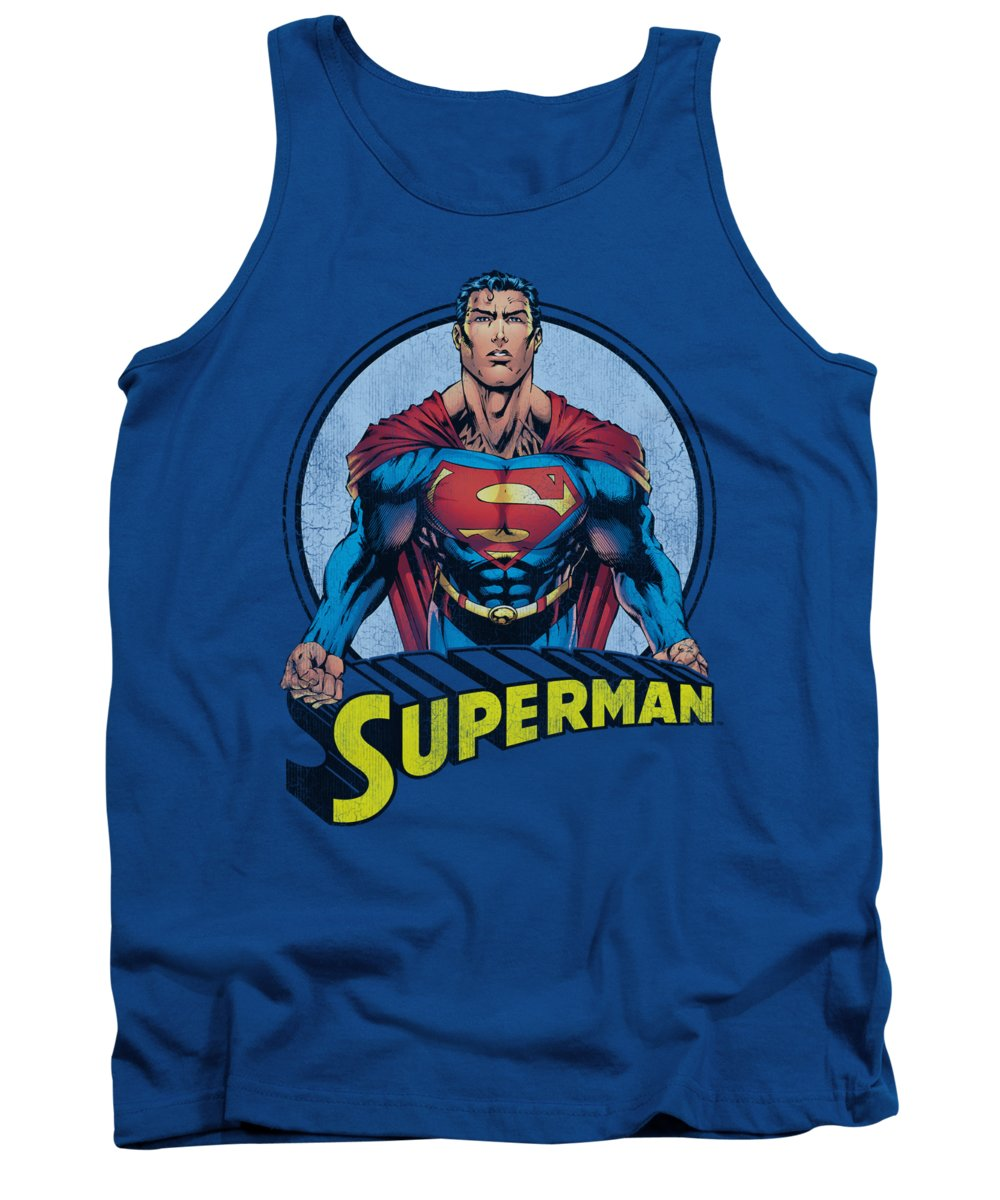 Superman Tank Top featuring the digital art Superman - Flying High Again by Brand A