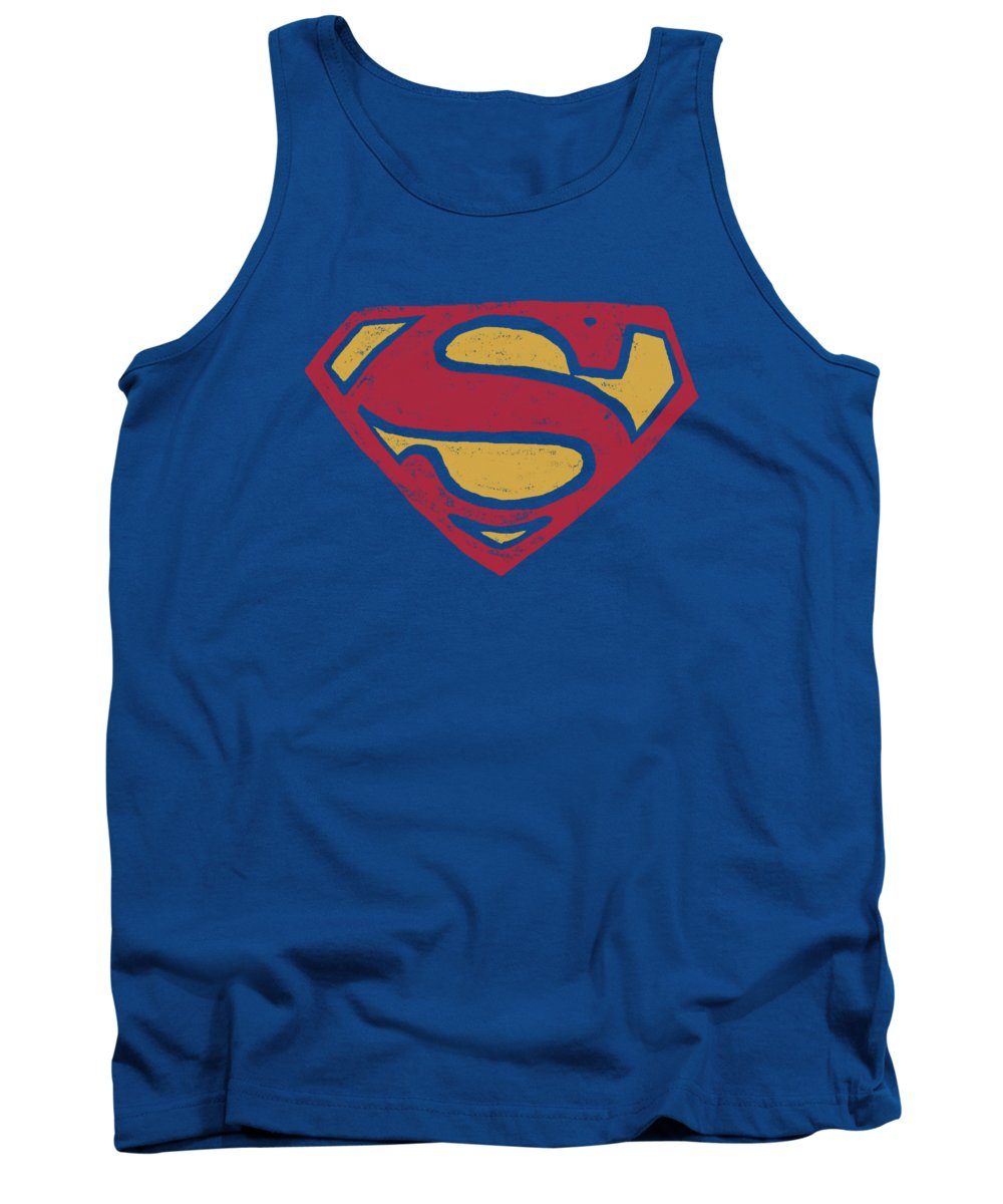 Superman Tank Top featuring the digital art Superman - Super Rough by Brand A