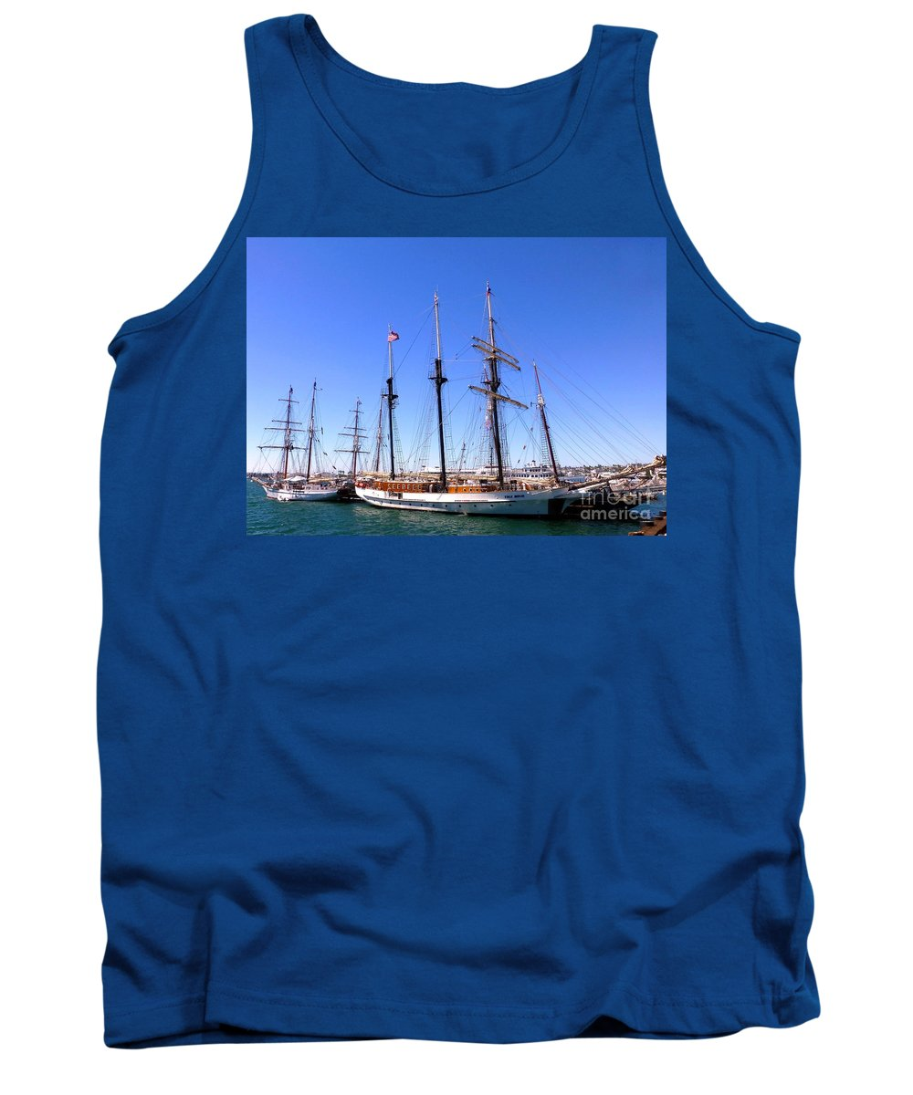 Sailboat Tank Top featuring the photograph Tall Ships Big Bay by Barbie Corbett-Newmin