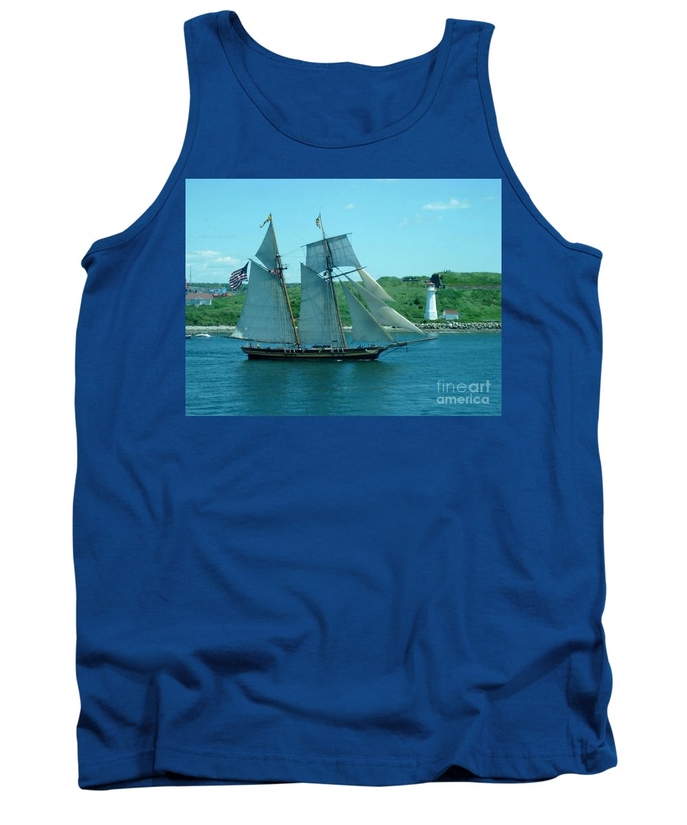 Ship Art Tank Top featuring the photograph American Tall Ship Sails Past Mcnabs Island by John Malone