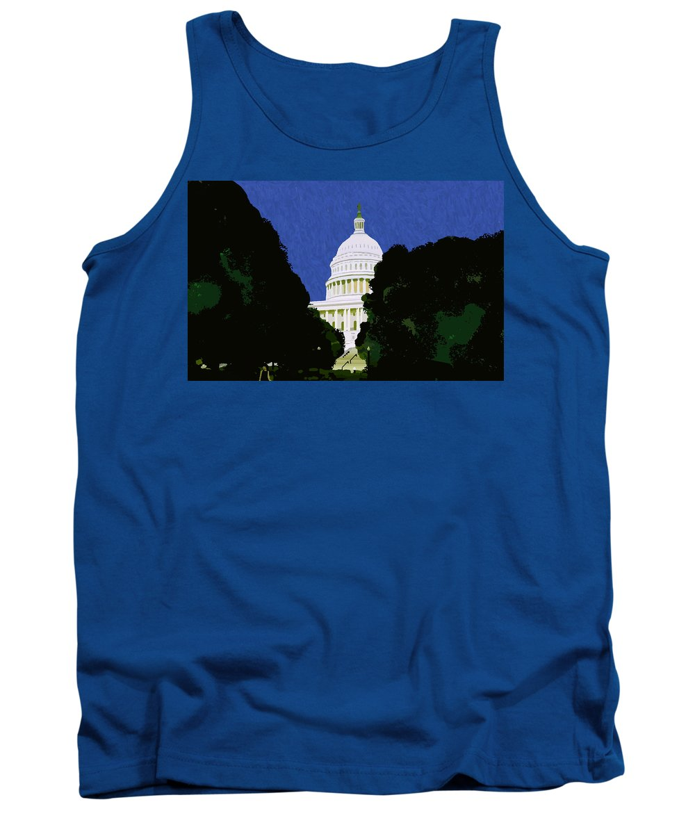 Capitol Tank Top featuring the painting The Capitol by Pharris Art