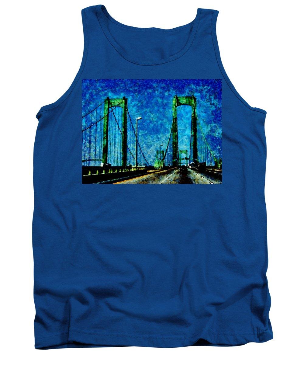 Delaware Memorial Bridge Tank Top featuring the photograph The Delaware Memorial Bridge by Angelina Tamez