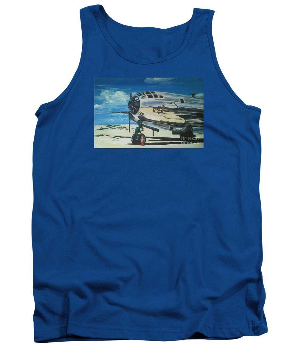 Warbirds Tank Top featuring the painting The Enola Gay Resting At Tinian by Richard John Holden RA