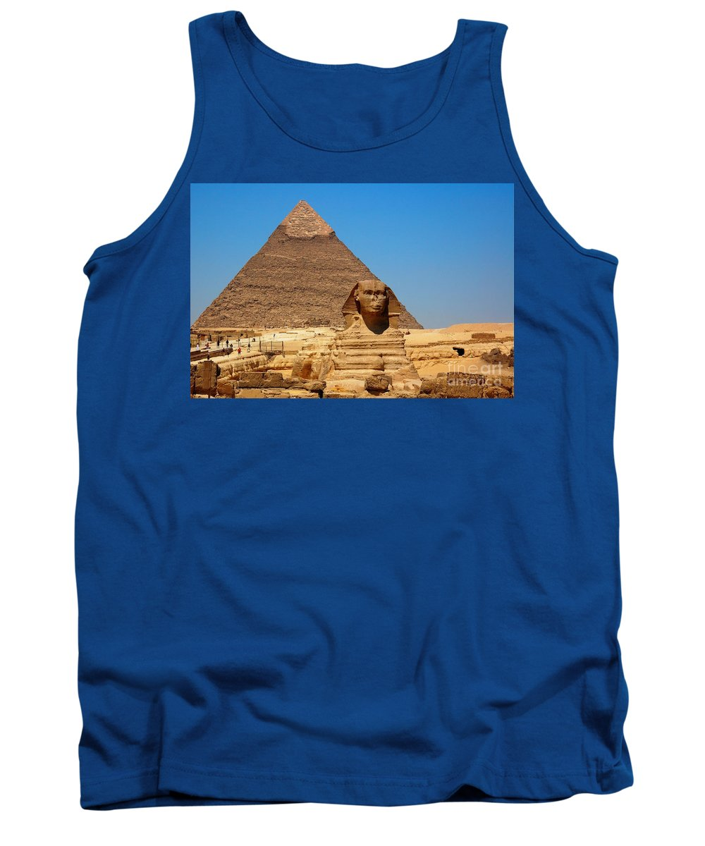 Africa Tank Top featuring the photograph The Great Sphinx Of Giza And Pyramid Of Khafre by Joe Ng