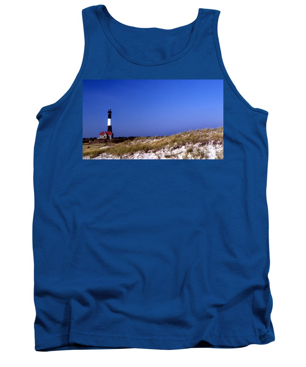 Lighthouses Tank Top featuring the photograph The Light On Fire Island by Skip Willits