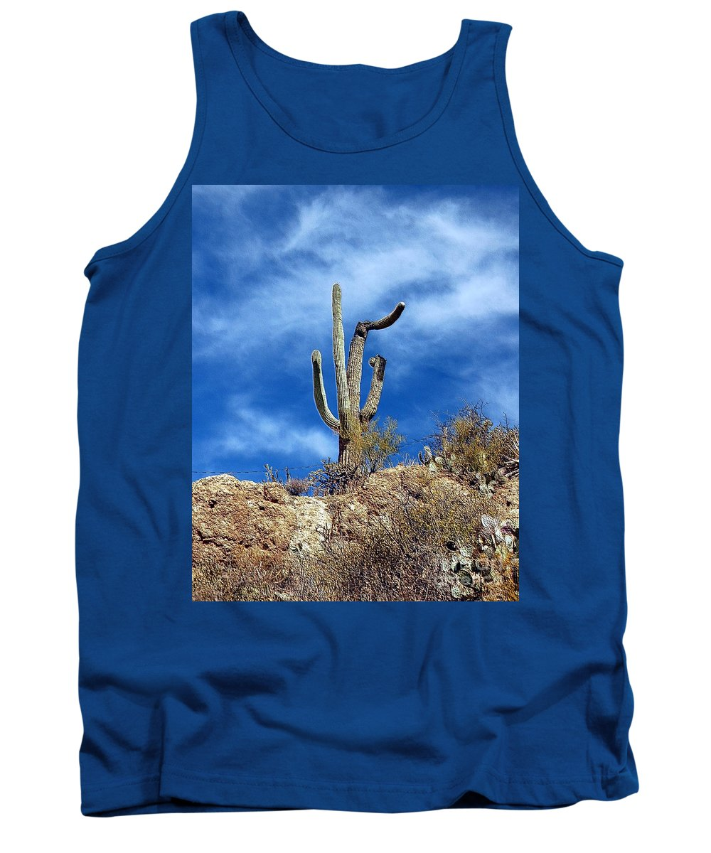 Cactus Tank Top featuring the photograph The Lonely Suguaro by Kathleen Struckle
