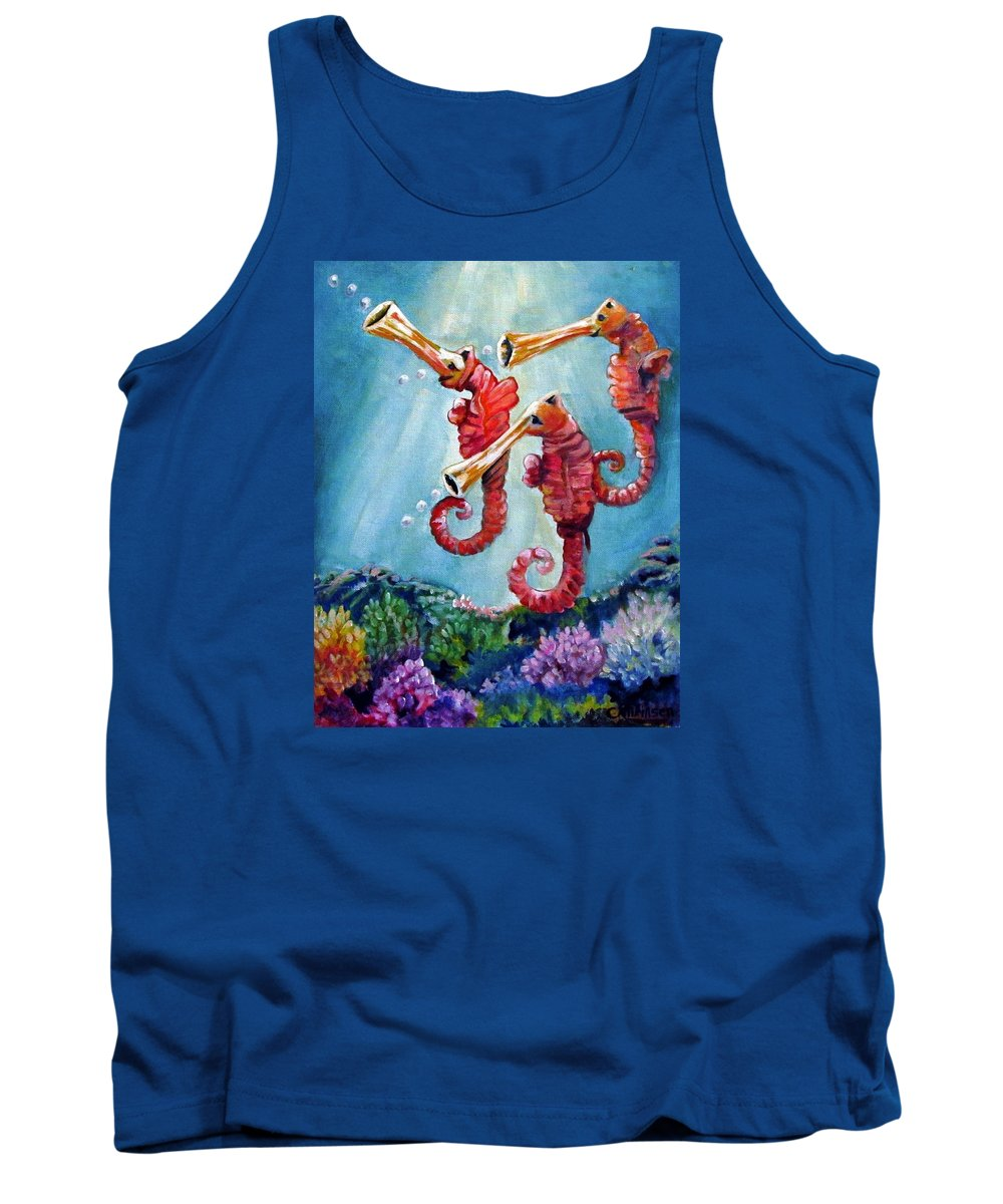 Neptunes Tank Top featuring the painting The Neptunes -- Trumpeteers by Carol Allen Anfinsen