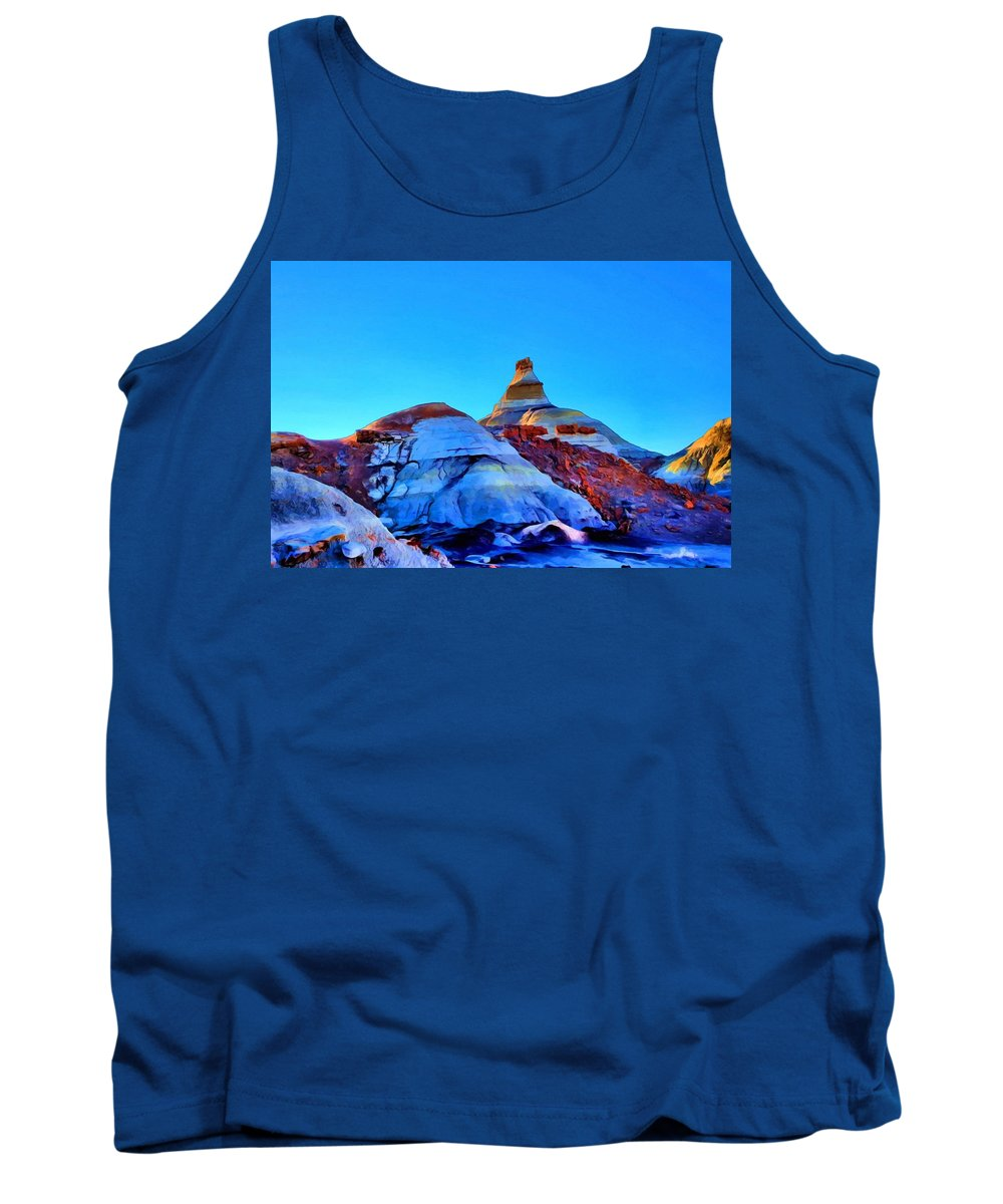 Bisti Tank Top featuring the painting The Top by Jim Buchanan