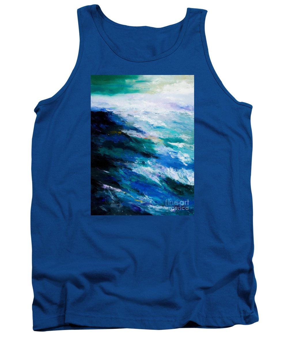 Seascape Tank Top featuring the painting Thunder Tide by Larry Martin