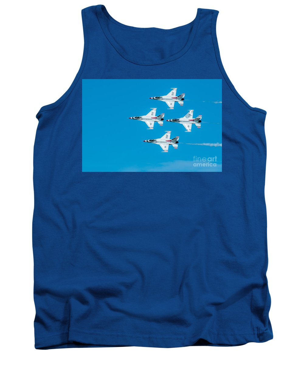 Navy Tank Top featuring the photograph Thunderbird In Formation by Amel Dizdarevic