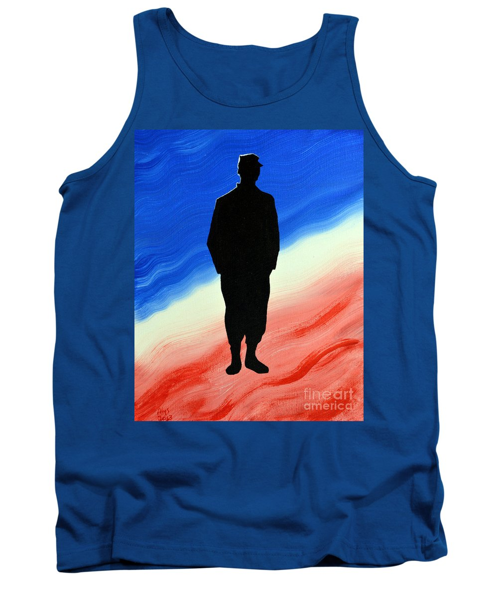 Us Military Tank Top featuring the painting Today's Soldier by Alys Caviness-Gober