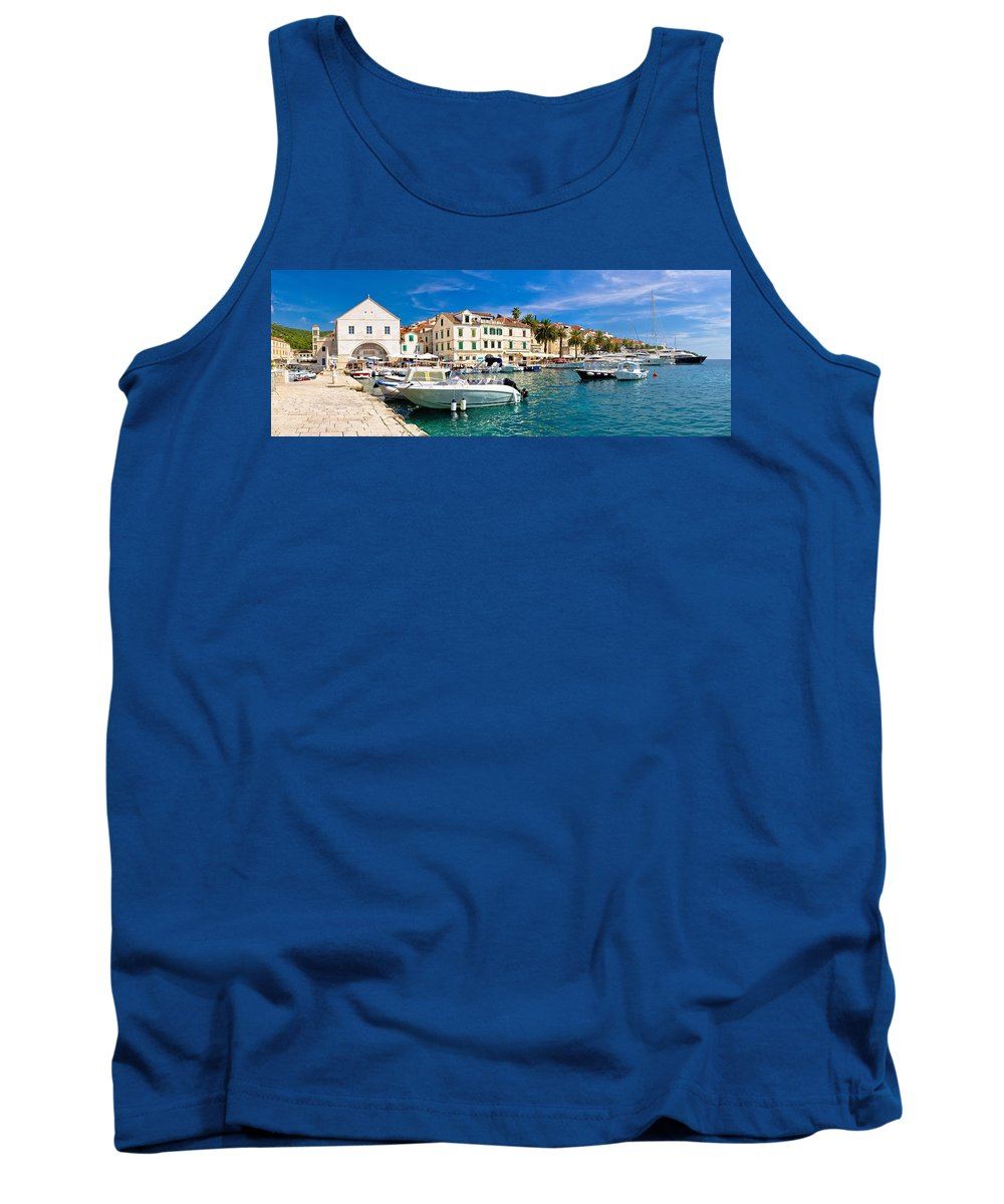 Hvar Tank Top featuring the photograph Town Of Hvar Waterfront View by Brch Photography