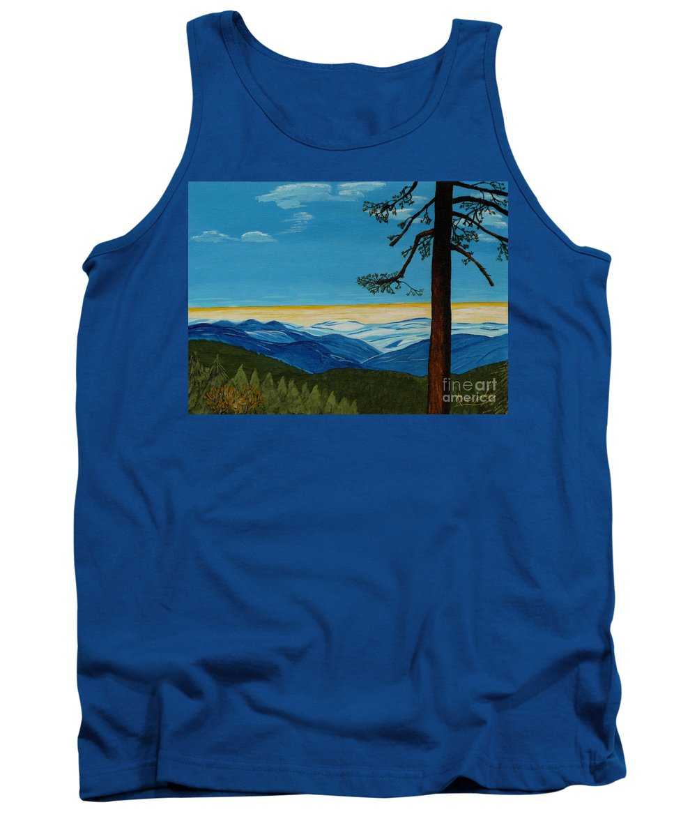 Mountain Tank Top featuring the painting Tranquil Solitude by Anthony Dunphy