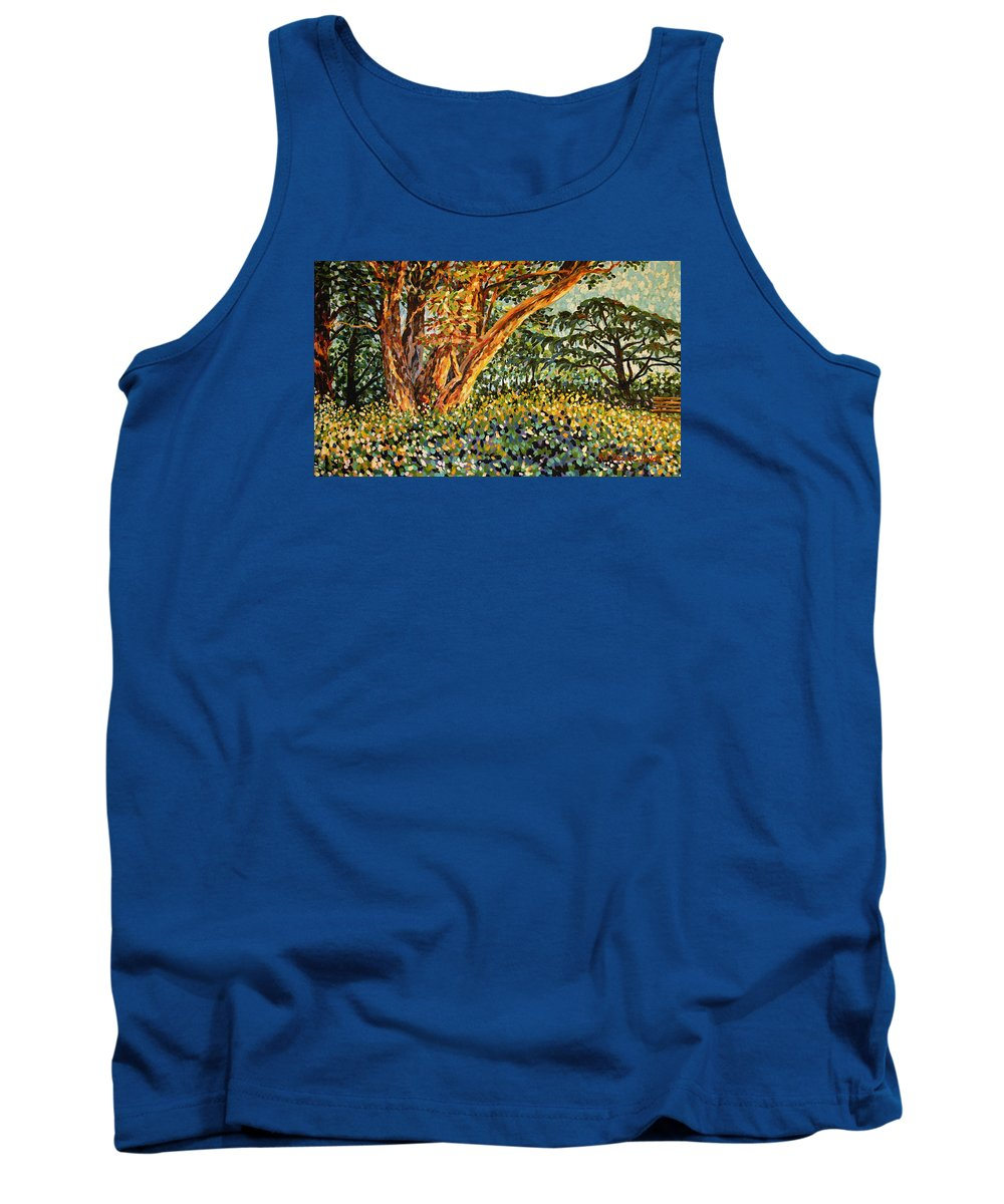 Bonnie Follett Tank Top featuring the painting Trees At Sunset In Lafayette Park by Bonnie Follett
