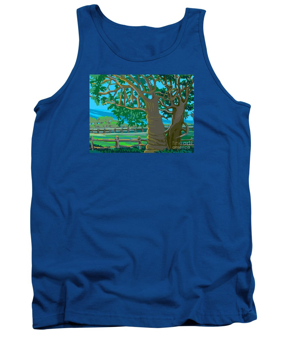 Landscape Tank Top featuring the painting Trees In Love by Shirl Solomon