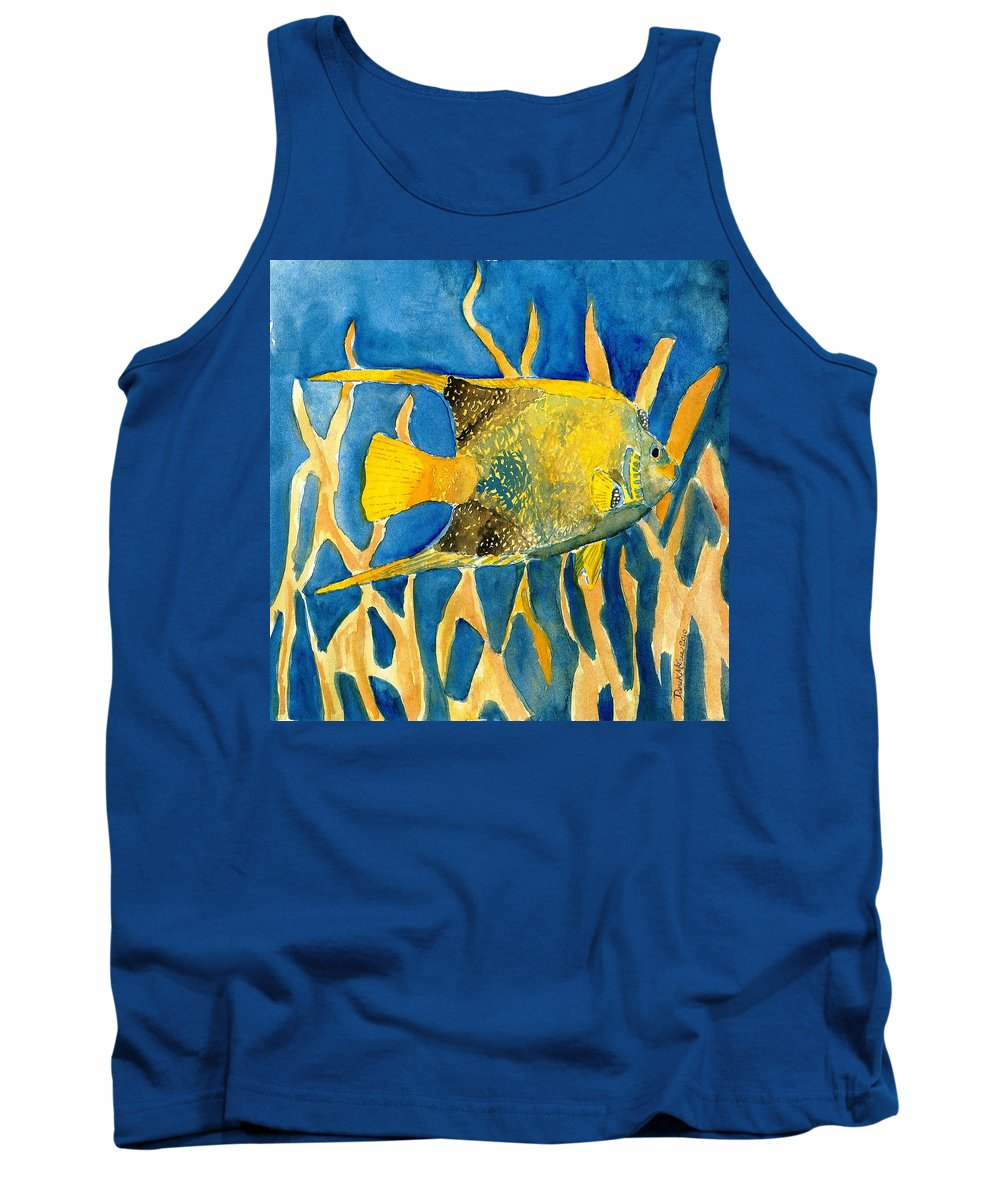 Tropical Tank Top featuring the painting Tropical Fish Art Print by Derek Mccrea