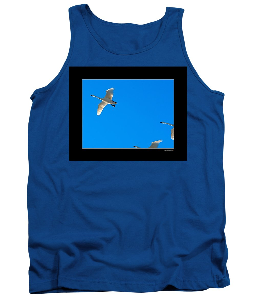 Trumpeter Swan Tank Top featuring the photograph Trumpeter Swans In Color by Larry Jost