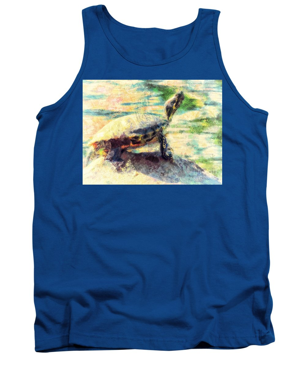 Turtle Tank Top featuring the photograph Turtle Brave by Davy Cheng